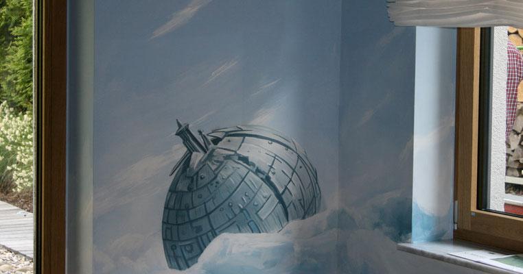 Eisplanet, eine Wandmalerei aus der Starwars-Saga für ein Jugendzimmer.