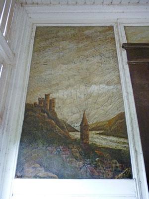 Das Originalbild mit der Burg Maus:  Die Leinwand ist verrottet, die Farbschichten tief zerrissen, der untere Teil des Gemäldes wurde vom Besitzer schon abgeschnitten.