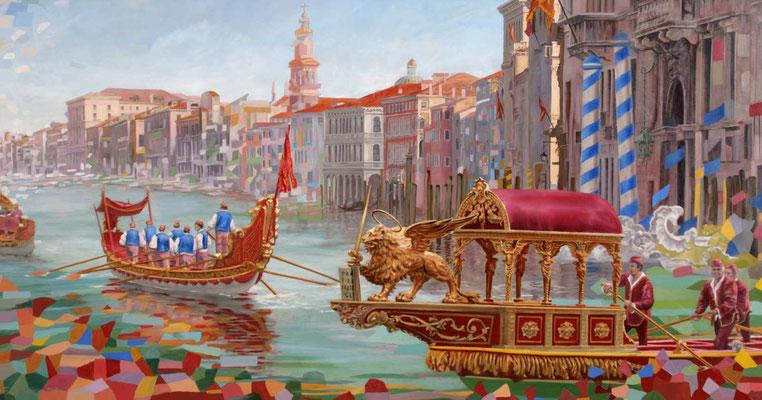 """Fest Strozzia, Die """"Regata Storica""""(historische Regatta) eine Schiffsparade mit Schiffe aus dem 16. Jahrhundert"""