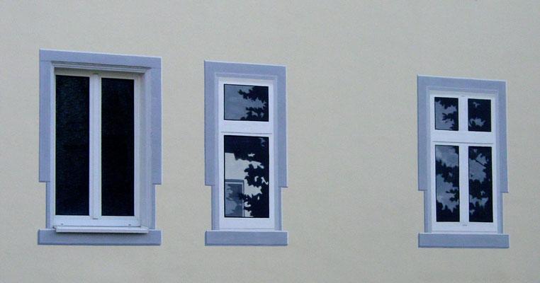 Detail: Die Fenster spiegeln die Umgebung.