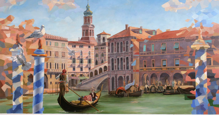 Durch das Hinzufügen farbiger Facetten wird das Bild aus der Gemäldereiche »Venedig« in einen modernen Kontext gesetzt.