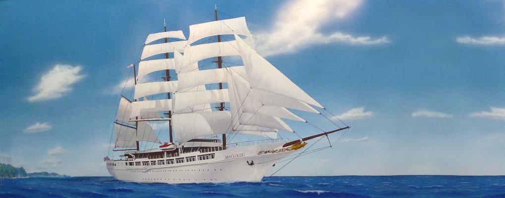 "Südseemotiv; Rollobemalung mit dem Segelschiff ""Seacloud II"" unter vollen Segeln"