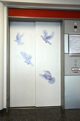 Fliegende Taubenflug sind auf die Aufzugstür gemalt. Eine in sich geschlossene Szene.