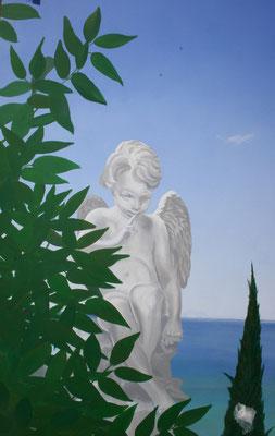Fassadenmalerei: Ein gemalter Engel im Wandgemälde. Blick auf Ischia.
