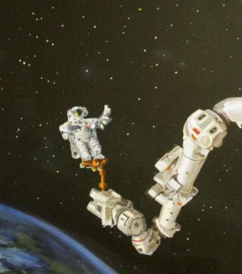 Kinderzimmer Wandbemalung Astronaut bei normaler Beleuchtung