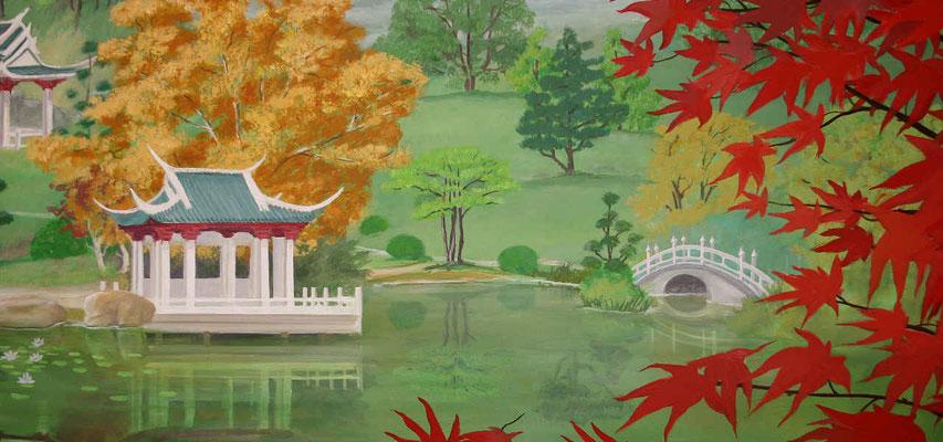 Detailansicht des Teehauses in der japanischen Landschaft