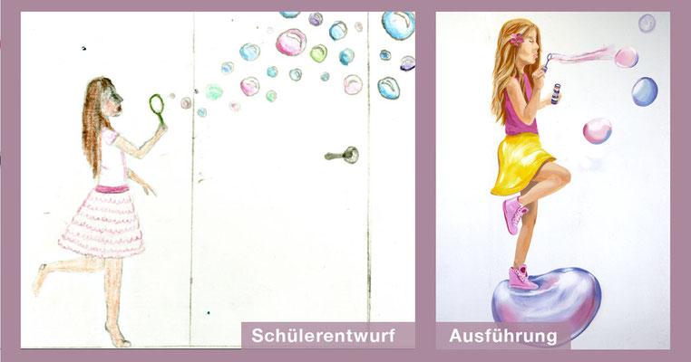 Schüler-Entwurf und unsere Ausarbeitung eines Seifenblasen pustendes Mädchens.