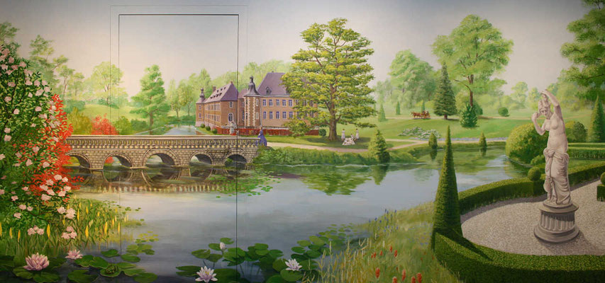 Dieser Teil der Wandmalerei zeigt das Schloss Dyck und erstreckt sich auch über eine versteckte Tür...