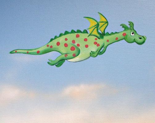 Wandbild fliegender Drache.