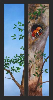 Paneele Baum mit Papageien