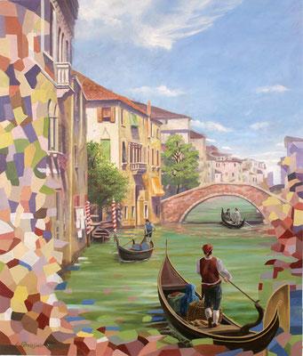 Romantische Malerei mit modernen Stilelementen; Gondolieri in einem kleinen Seitenkanal