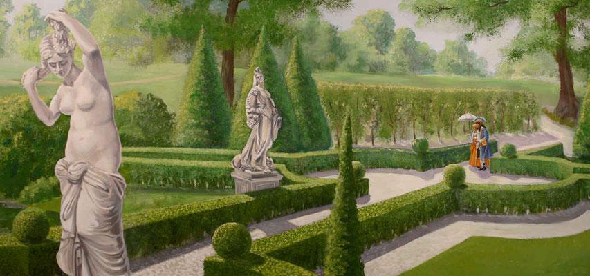 Detailansicht des Barockgartens mit Statuen der Göttinnen Flora und Pomon aus der griechischen Mythologie.