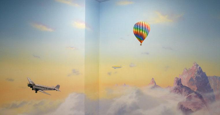 Wandmalerei Luftfahrt für's Kinderzimmer.