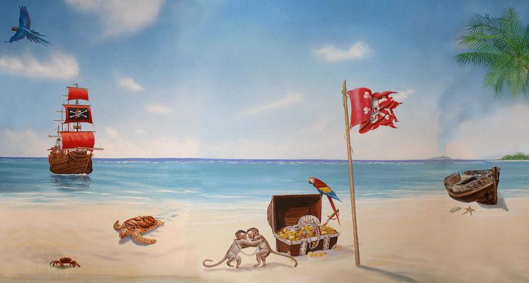 Wandmalerei mit einer Piratenszene in einer Kinderzahnarztpraxis