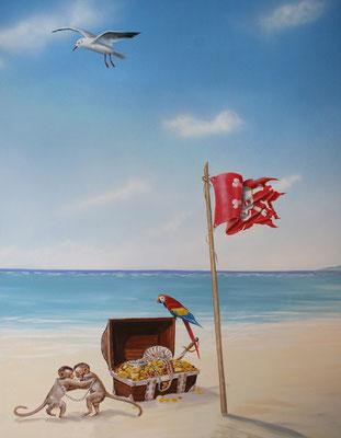 Piratenschatz, Detail der Wandmalerei.