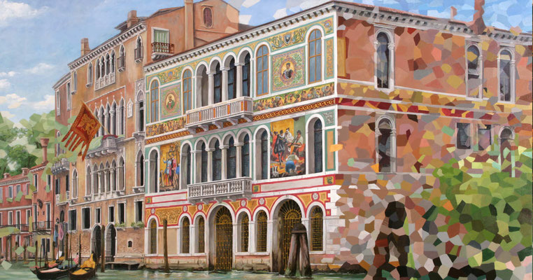 """Venezianische Paläste; der Palazzo Borgheria aus dem Bilderzyklus """"Venezianische Impressionen"""". Ein Gemälde für den Speiseraum der Aida"""