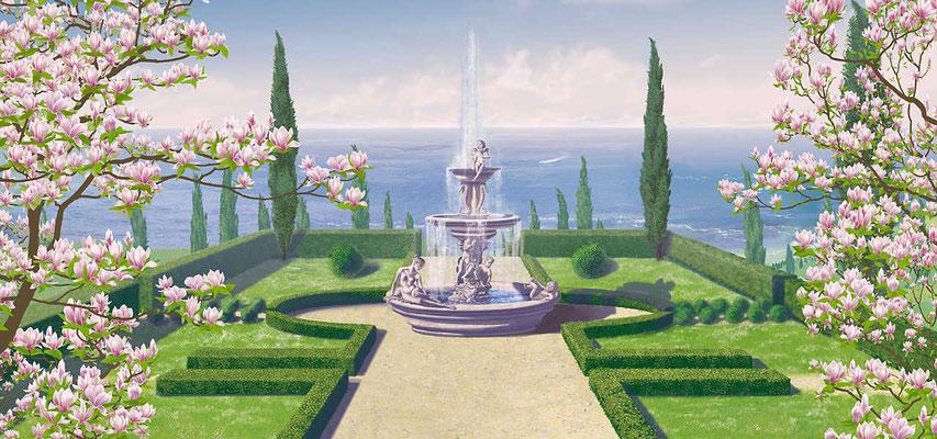 Eine gepflegte Parkanlage mit Zypressen, Skulpturenbrunnen und einen weiten Blick auf das ruhige blaue Meer. Magnolienbäume fassen harmonisch das Bild ein.