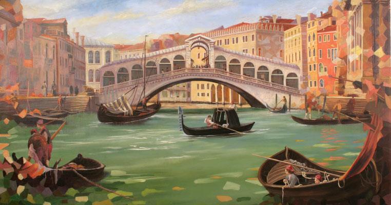 Künstlerische Darstellung der Rialobrücke; eines der bekanntesten Bauwerk Venedigs. Das Gemälde zeigt sie mittig vom Carnel Grande gesehen.