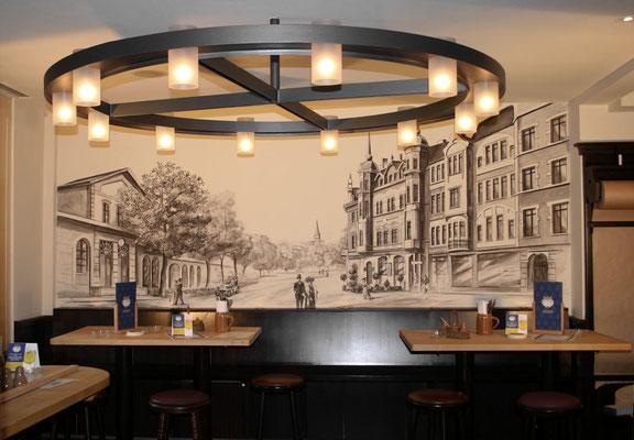 Grisaille-Malerei in einer Gaststätte.