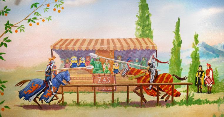 Ein Ritterturnier mit mit zwei Reitern und dem Königspaar – und den Minions als Zuschauer auf der Tribüne.