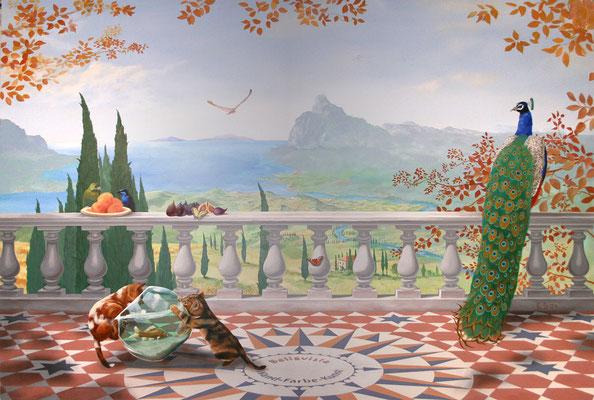 »Bellavista«, eine detailreiche, aufwendig angelegte Wandmalerei eines verträumten Nachmittags auf einer sonnigen Terrasse in der Toskana.