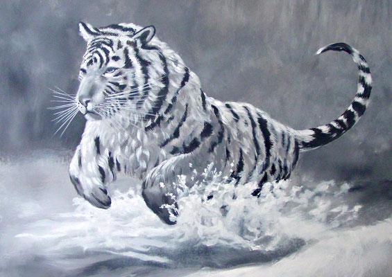 Gemälde eines springenden Tigers; Acryl auf Leinwand, schwarz/weiss