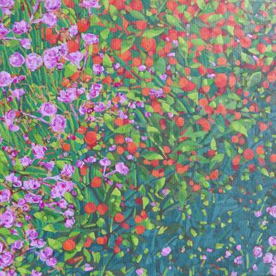 Françose Trotabas-  laurier rose et oranger II - acrylique sur toile - 20X20cm 2018