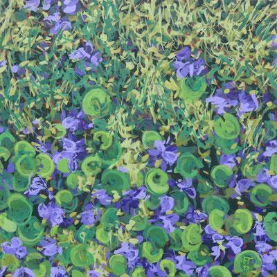 Françoise Trotabas les violettes II-  acrylique sur bois  - 15x15cm - 2019