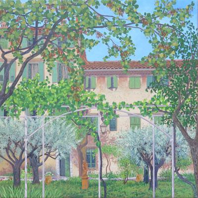 Françoise Trotabas - Acrylique sur toile - 40X40cm -   les oliviers, Vence - 2019