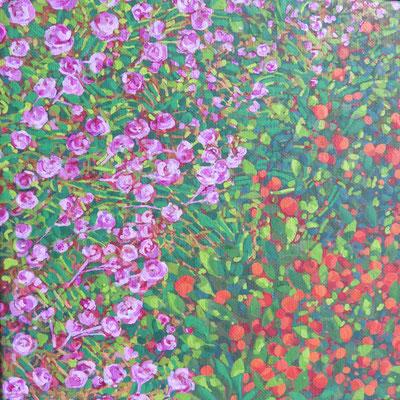 Françose Trotabas-  laurier rose et oranger I - acrylique sur toile - 20X20cm 2018