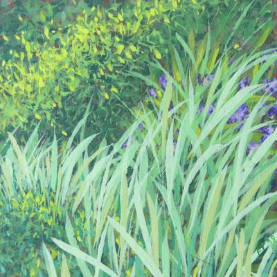 Françoise Trotabas les iris I- acrylique sur carton - 10x10cm - 2019