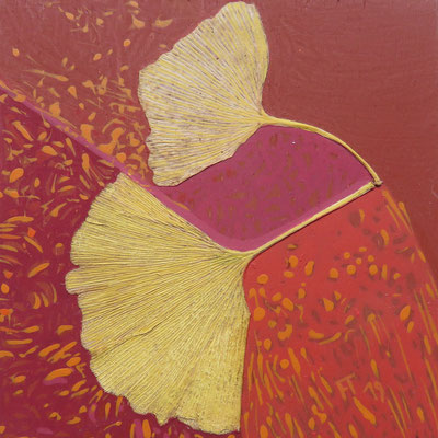 Françoise Trotabas - 2 feuilles de gingko vers la gauche collé sur Bois -  acrylique- 10X10cm-  2019