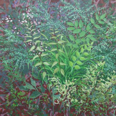 Peinture sur bois 15X15cm-  fleurs à la Mazerette I - Correze - 2019