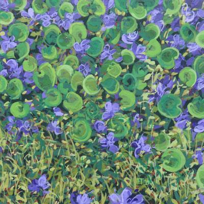 Françoise Trotabas les violettes I-  acrylique sur bois  - 15x15cm - 2019