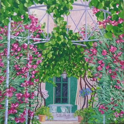 Françoise Trotabas - Vence -  Laurier et vigne  - acrylique sur toile - 25x25cm - 2018