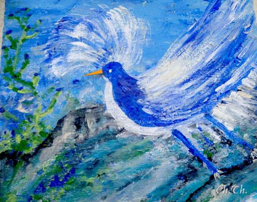 Blauer Vogel, Acryl auf Leinwand