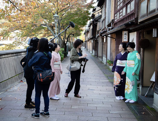 UESAKA 新・加賀友禅プロジェクト NHKロケ金沢茶屋街