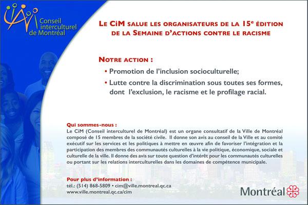 Conception graphique réalisée pour le Conseil interculturel de Montréal