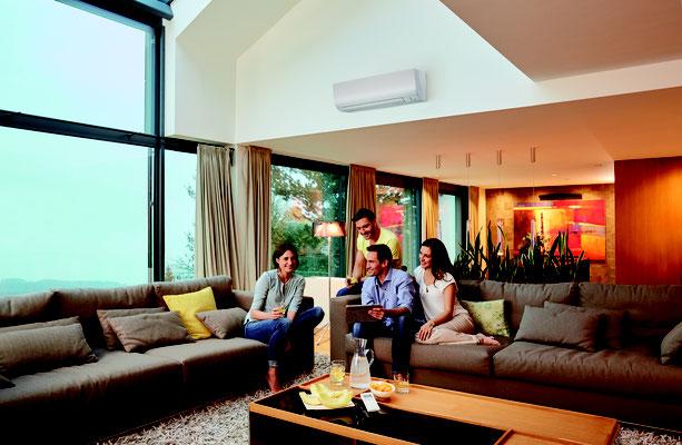 Eingebaute Klimaanlage im Wohnzimmer