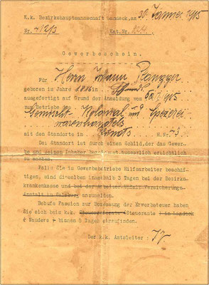 Gewerbeschein 1915