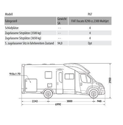 Mobilvetta Kea P 67 Masszeichnung