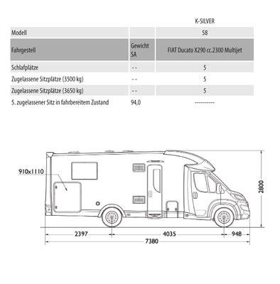 Mobilvetta K-Silver 58 Masszeichnung