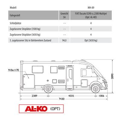 Mobilvetta K-Yacht Tekno Line 89 Masszeichnung
