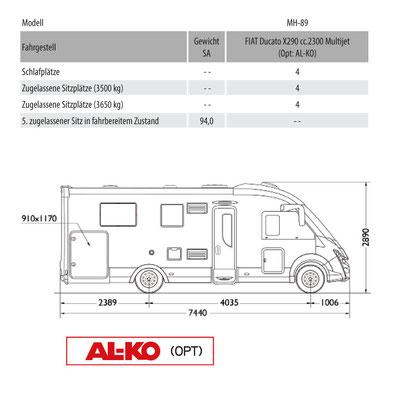 Mobilvetta K-Yacht Tekno Design 89 Masszeichnung