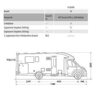 Mobilvetta K-Silver 59 Masszeichnung