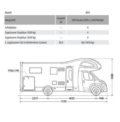 Mobilvetta Kea M 76 Masszeichnung