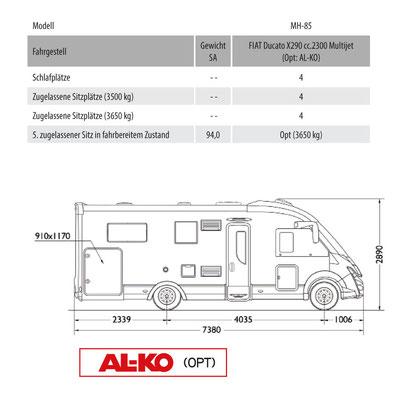 Mobilvetta K-Yacht Tekno Line 85 Masszeichnung