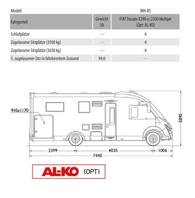 Mobilvetta K-Yacht Teknoo Design 85 Masszeichnung