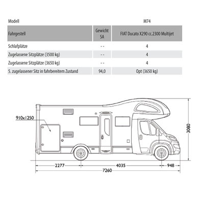 Mobilvetta Kea M 74 Masszeichnung