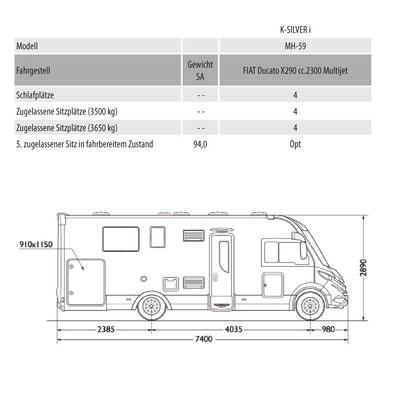 Mobilvetta K-Silver I 59 Masszeichnung